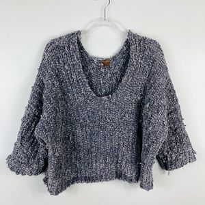 POL Gray Crop Raggedy Knit Sweater Long Sleeve